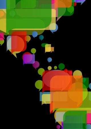 central: Amerika continent wereldkaart gemaakt van kleurrijke tekstballonnen