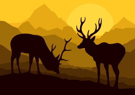 Deer in wild nature forest mountain landscape background Vector