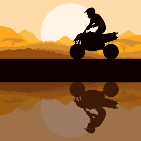 motocross riders: All terrain vehicle quad motorbike rider in wild nature forest Illustration