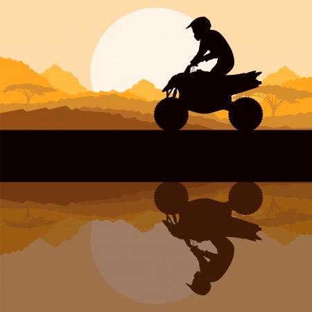 atv: All terrain vehicle quad motorbike rider in wild nature forest Illustration