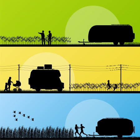 Tourists and campers vehicle detailed silhouettes in countryside Stock Vector - 16932733