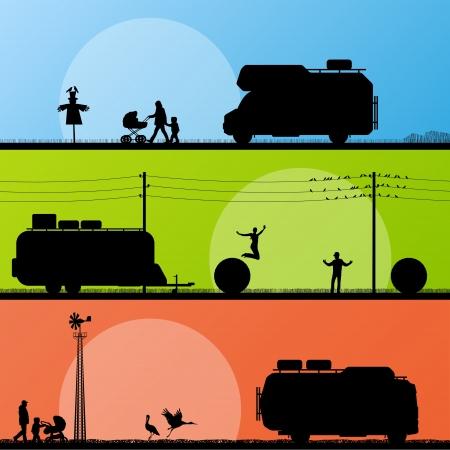mobilhome: Les touristes et les campeurs silhouettes de v�hicules d�taill�s dans la campagne