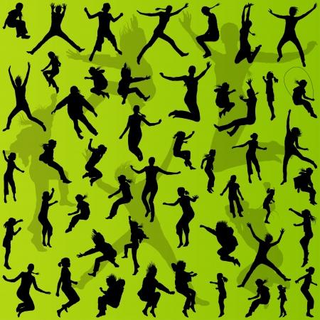 celebrate life: J�venes adolescentes y ni�os siluetas de recogida de ilustraci�n para el cartel
