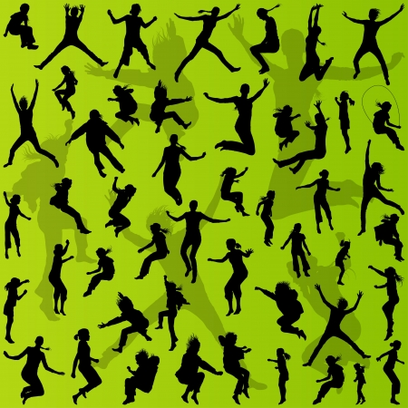 woman jump: Young teenagers and children illustration collection silhouettes for poster