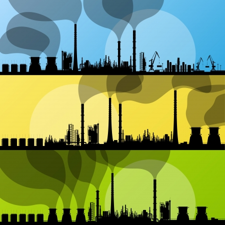 Industrial oil refinery factory landscape illustration collection background Stock Vector - 16932615