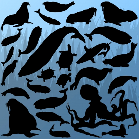 Big whale, octopus, seal, sea lion, turtle and shark silhouettes Vector