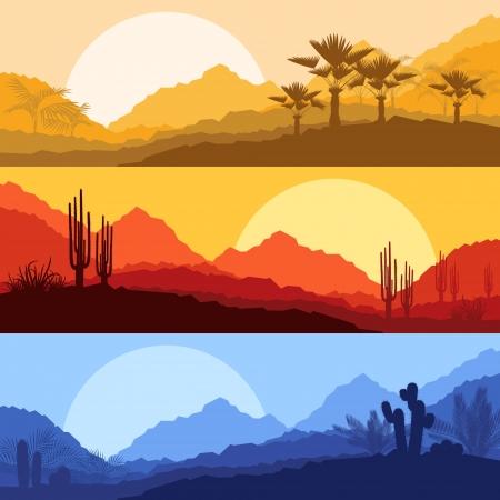 風景: 砂漠のサボテンやヤシの木植物と野生の自然風景