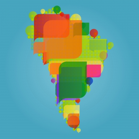 gossiping: South America continent world map made of colorful speech bubbles Illustration