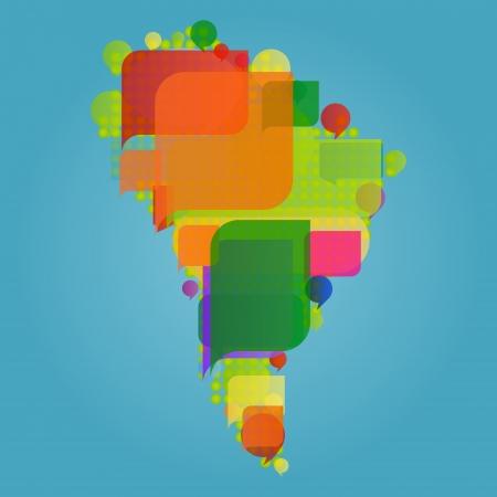 Zuid-Amerika continent kaart van de wereld gemaakt van kleurrijke tekstballonnen Vector Illustratie