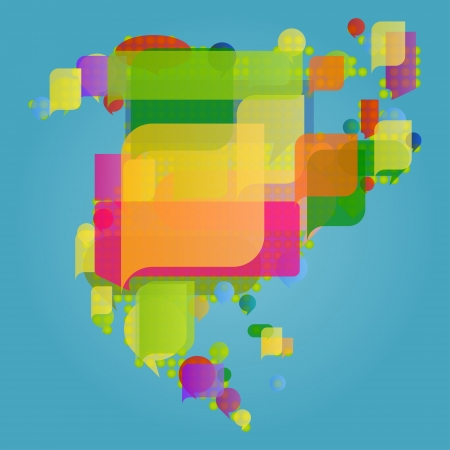 North and central America continent world map made of colorful speech bubbles