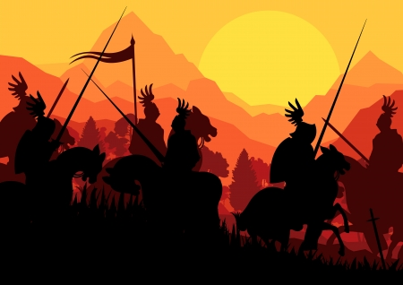 Medieval knight horseman silhouettes riding in battle field Vector
