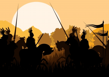 solder: Medieval knight horseman silhouettes riding in battle field