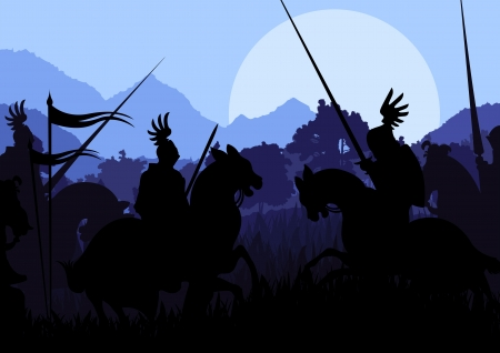 Medieval knight horseman silhouettes riding in battle field Stock Vector - 16932610