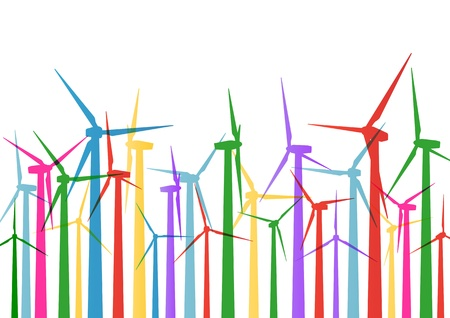 rural development: Colorful wind electricity generators and windmills detailed ecology