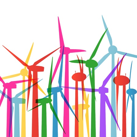 Colorful wind electricity generators and windmills detailed ecology Stock Vector - 16932481