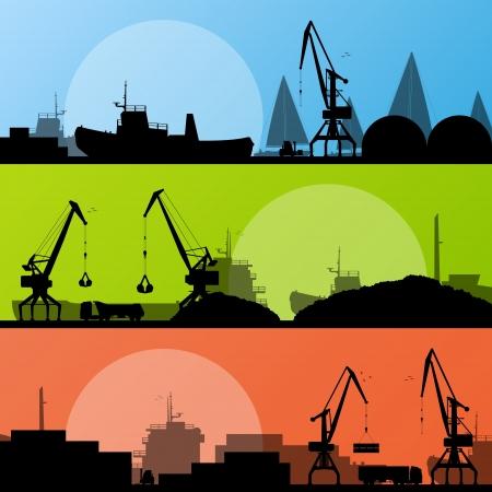 Industrial harbor, ships, transportation and crane seashore landscape  Stock Vector - 16932520
