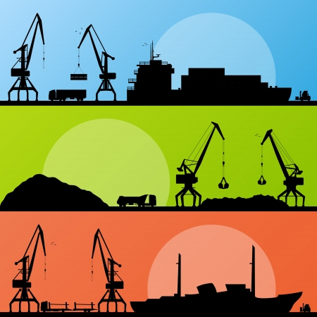Industrial harbor, ships, transportation and crane seashore landscape  Stock Vector - 16930364