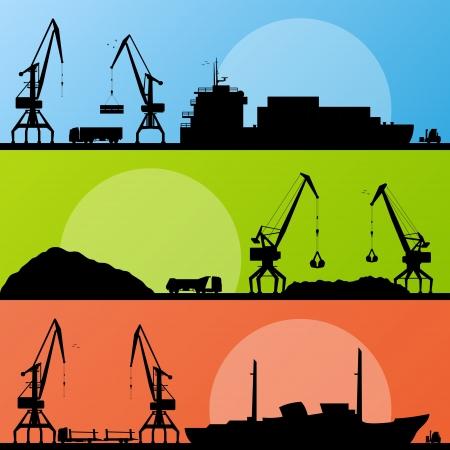 container cargo ship: Industrial harbor, ships, transportation and crane seashore landscape  Illustration