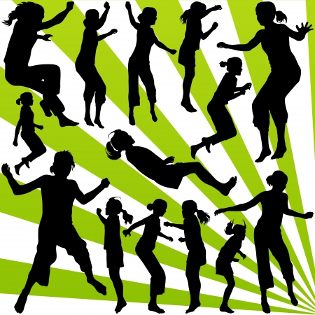 Young children illustration collection silhouettes jumping in the air background Stock Vector - 16932457