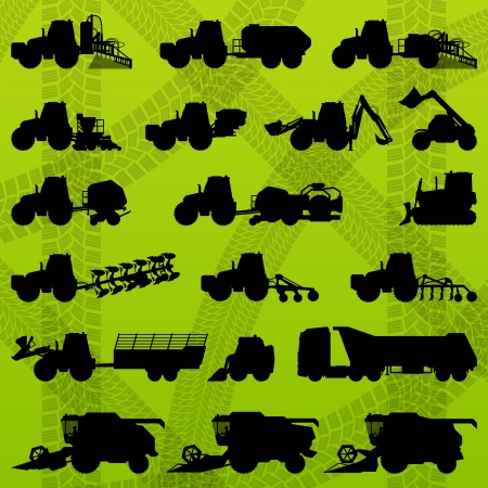 Agriculture industrial farming equipment tractors, trucks, harvesters, combines and excavators Vector