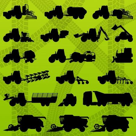 combinar: La agricultura industrial tractores agrícolas equipos, camiones, cosechadoras, cosechadoras y excavadoras