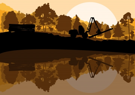 Forestry logger tractor in forest landscape Stock Vector - 16932649