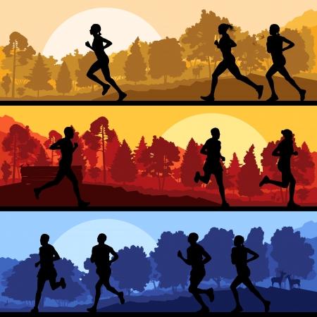Marathon runners in wild forest nature Stock Vector - 16932683