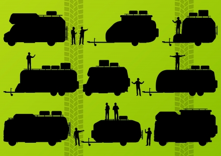Tourist camper camping vehicles detailed silhouettes illustration Vector