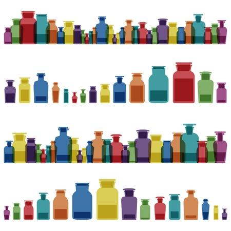 farmacia: Vintage antichi vasi di vetro, bottiglie di vetro e la medicina chimica pozioni colorate