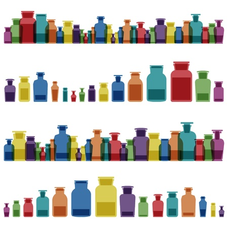 reaction: Vintage old glass jars, bottles and medicine chemistry potions colorful glassware