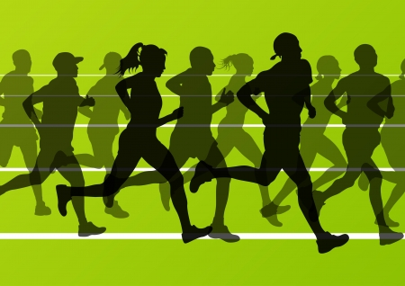 runner: Marathon runners running silhouettes in sport stadium landscape background illustration
