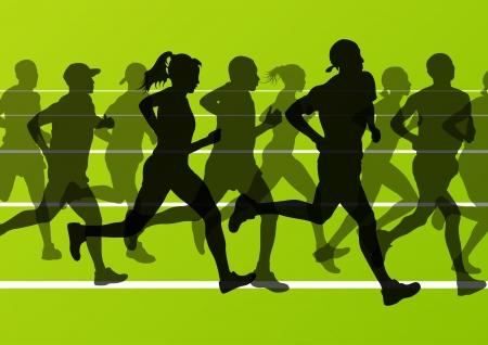 running race: Marathon runners running silhouettes in sport stadium landscape background illustration