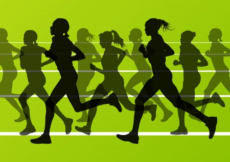 road runner: Marathon runners running silhouettes in sport stadium landscape background illustration