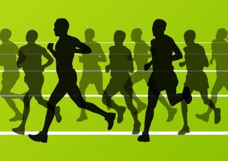 Marathon runners running silhouettes in sport stadium landscape background illustration