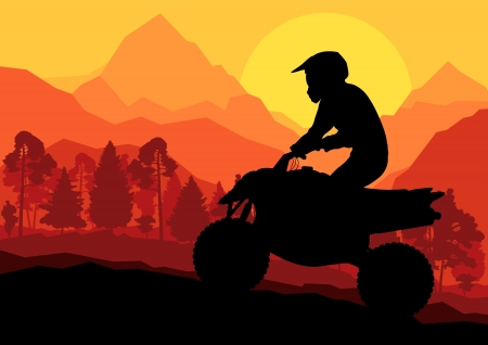 All terrain vehicle quad motorbike rider in wild nature forest mountain landscape background illustration  Stock Vector - 16932546