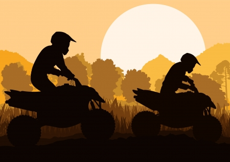 All terrain vehicle quad motorbike rider in wild nature forest mountain landscape background illustration  Vector