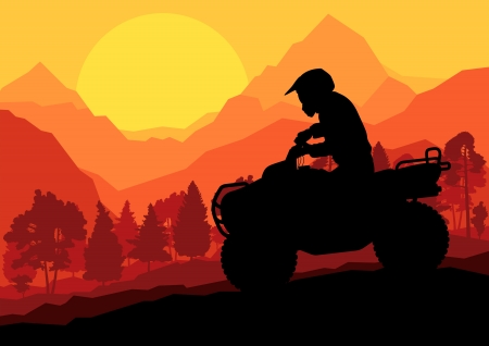 trail bike: All terrain vehicle quad motorbike rider in wild nature forest mountain landscape background illustration