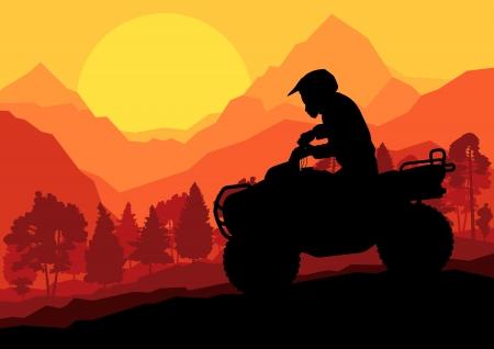 atv: All terrain vehicle quad motorbike rider in wild nature forest mountain landscape background illustration