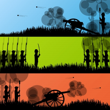 Vintage old civil war battle field warfare soldier troops and artillery cannon guns Vector