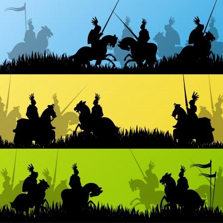 caballero medieval: Caballero medieval siluetas de jinetes que montan en campo de batalla fondo ilustraci�n guerra Vectores