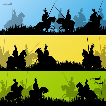 battle: Medieval knight horseman silhouettes riding in battle field warfare illustration background  Illustration
