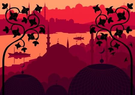 east asian culture: Vintage Arabic city landscape background illustration
