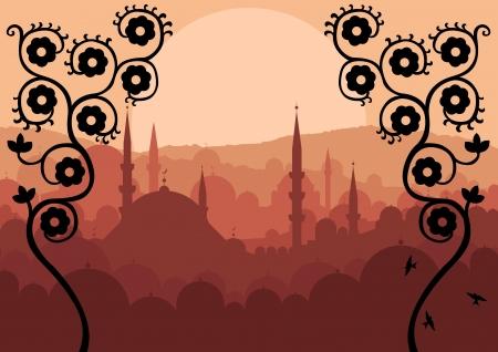 eastern religion: Vintage Arabic city landscape background illustration