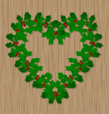 Holly berry Christmas symbol on wooden door for poster Stock Vector - 16932694