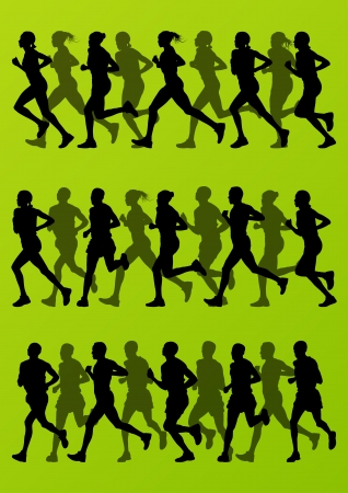 road runner: Marathon runners detailed active man and woman illustration silhouettes collection background