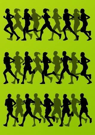 Los corredores de maratón hombre activo y mujer detallada ilustración de fondo siluetas colección