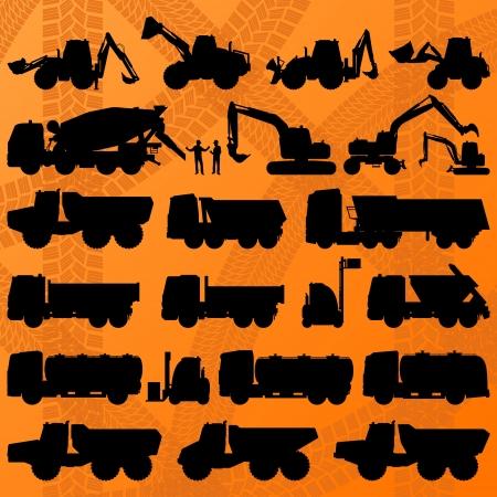 montacargas: Camión excavadora de construcción, camiones hormigonera y detalla maquinaria industrial