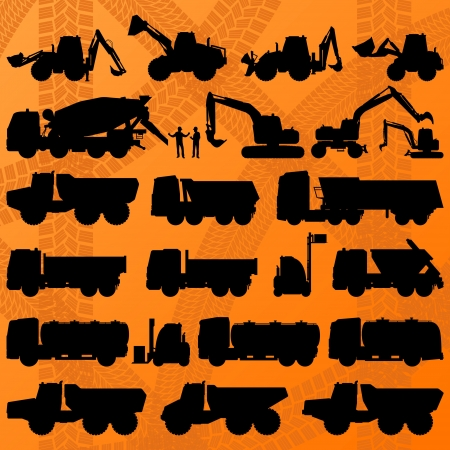 digger: Construction excavator, truck and concrete mixer truck detailed industrial machinery  Illustration
