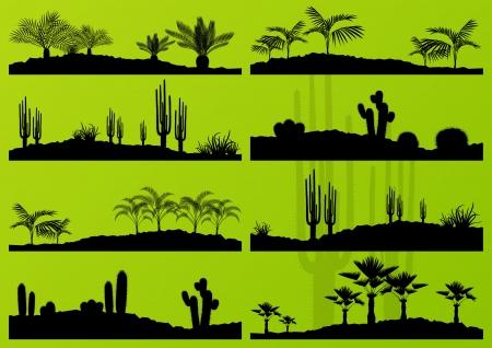 plantas del desierto: Desierto de cactus y plantas exóticas palmeras ilustración detallada paisaje de fondo colección