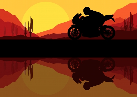 Motorbike riders motorcycle silhouette background Stock Vector - 16932701